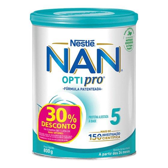 NAN OPTIPRO 5 LEITE EM PO CRESCIMENTO 800 G COM 30% DESCONTO