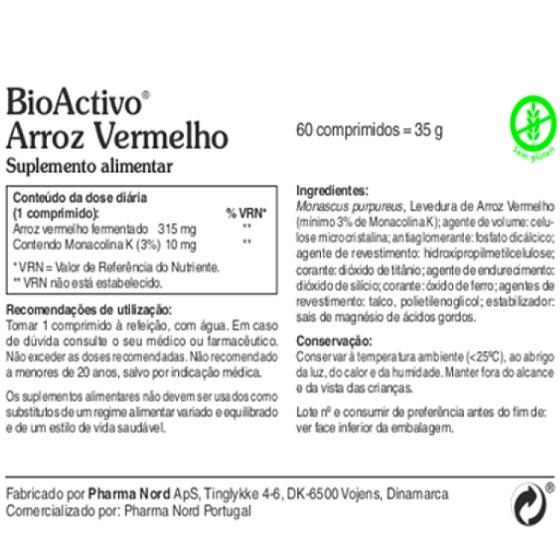 BIOACTIVO ARROZ VERMELHO X60 COMPRIMIDOS