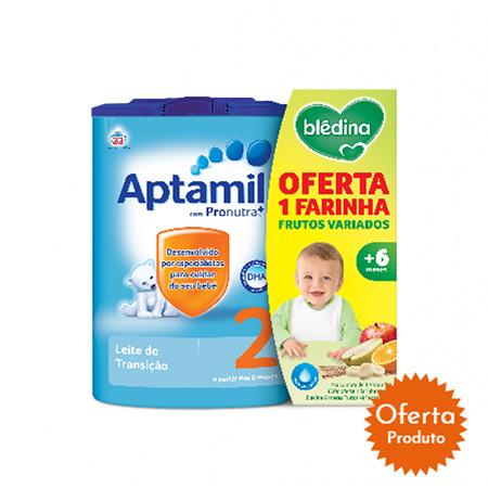 Aptamil 2 Leite Transição 800g + Oferta Bledina Frutas Variadas