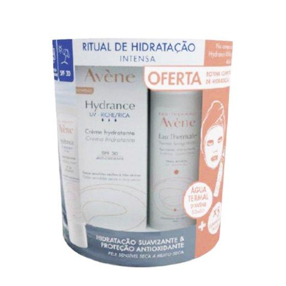 AVENE HYDRANCE UV RICO CREME SPF30 40 ML COM OFERTA DE EAU THERMALE SPRAY AGUA TERMAL 50 ML + INTENSE PROTECT SPF 50+ 5ML