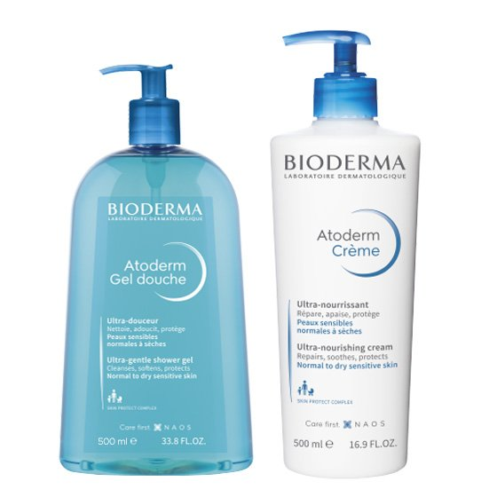 BIODERMA ATODERM GEL DOUCHE 500ML + ATODERM CREME 500ML COM PRECO ESPECIAL