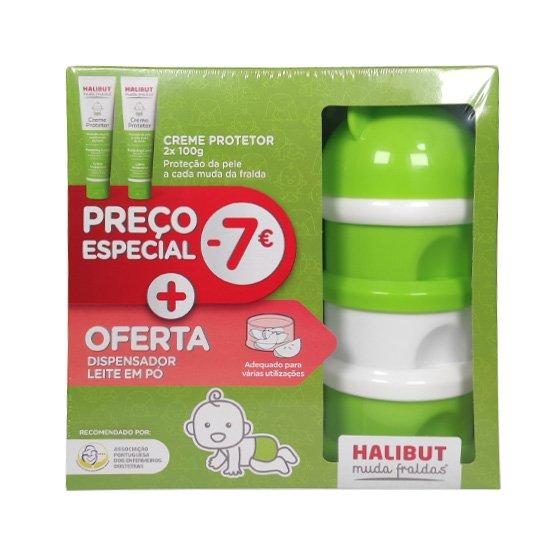 Halibut Muda Fraldas Duo Creme Protetor 2X100g Com Desconto + Oferta de Dispensador de Leite