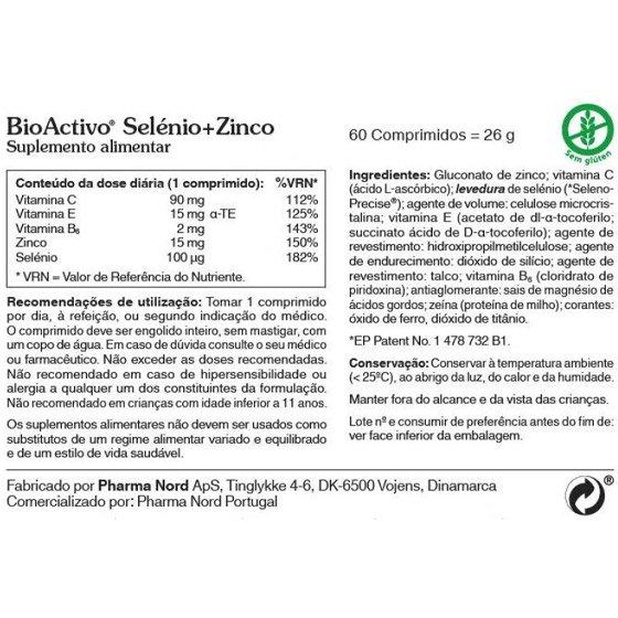 BIOACTIVO SELENIO + ZINCO COMPRIMIDOS X 60