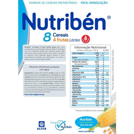 NUTRIBEN 8 CEREAIS 4 FRUTAS LÁCTEA 300G