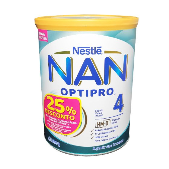 NAN OPTIPRO 4 SOLUCAO ORAL LACTEA PO 800 G COM DESCONTO DE 25%