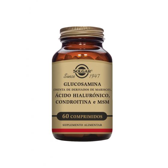 GLUCOSAMINA + ACIDO HIALURONICO + CONDROITINA SOLGAR X 60 COMPRIMIDOS