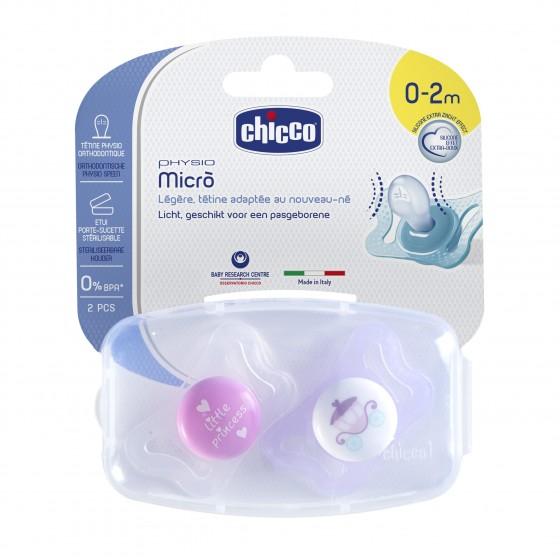 CHICCO CHUPETA PHYSIO MICRO SILICONE ROSA 0-2M X 2