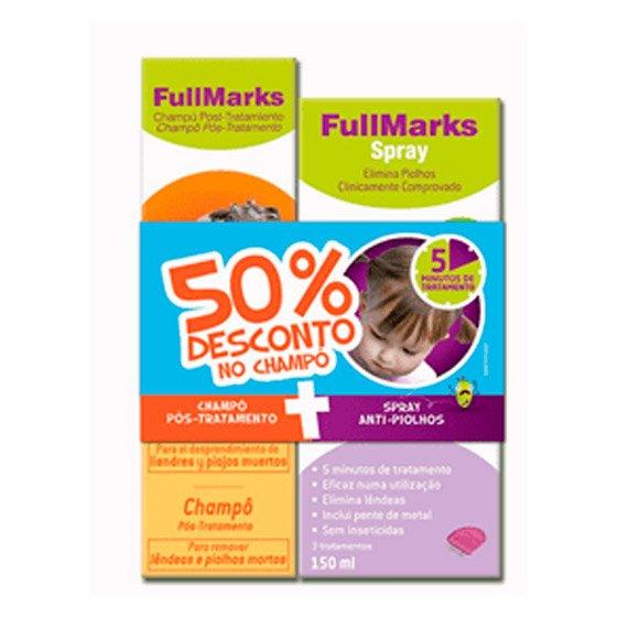 FULLMARKS SPRAY PIOLHOS/LENDEAS 150 ML + CHAMPO POS TRATAMENTO 150 ML COM DESCONTO DE 50%