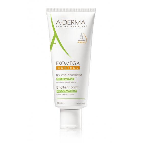 A-DERMA Exomega Control Bálsamo Emoliente Extra Rico para pele de tendência atópica e muito seca.  Embalagem de 200 ml