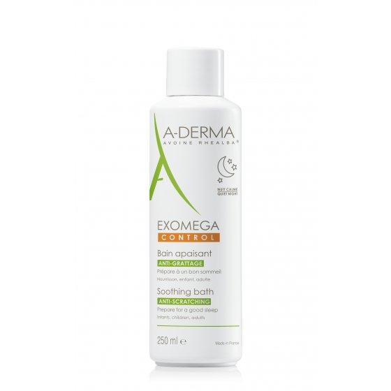 A-DERMA Exomega Control Banho Emoliente  para pele de tendência atópica e muito seca. Embalagem 250 ml