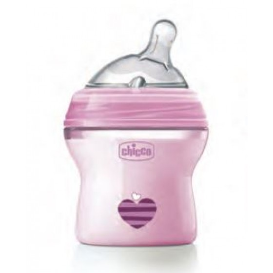 CHICCO BIBERAO NATURAL FEEL ROSA 150ML 0 MESES+