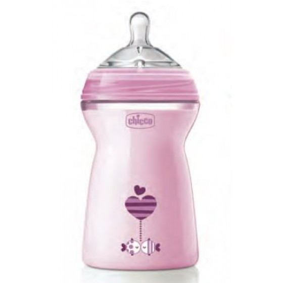 CHICCO BIBERAO NAT FEEL ROSA 330ML 6 MESES+