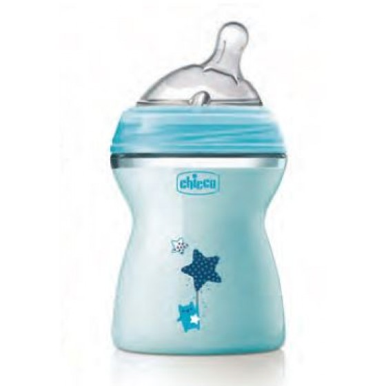 CHICCO BIBERAO NATURAL FEEL AZUL 250ML 2M+