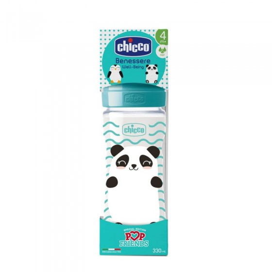 CHICCO BIBERON BS WB POP FRIENDS SILICONE 330ML