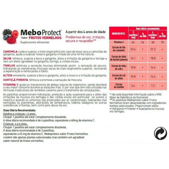 MEBOPROTECT FRUTOS VERMELHOS PASTILHAS X16